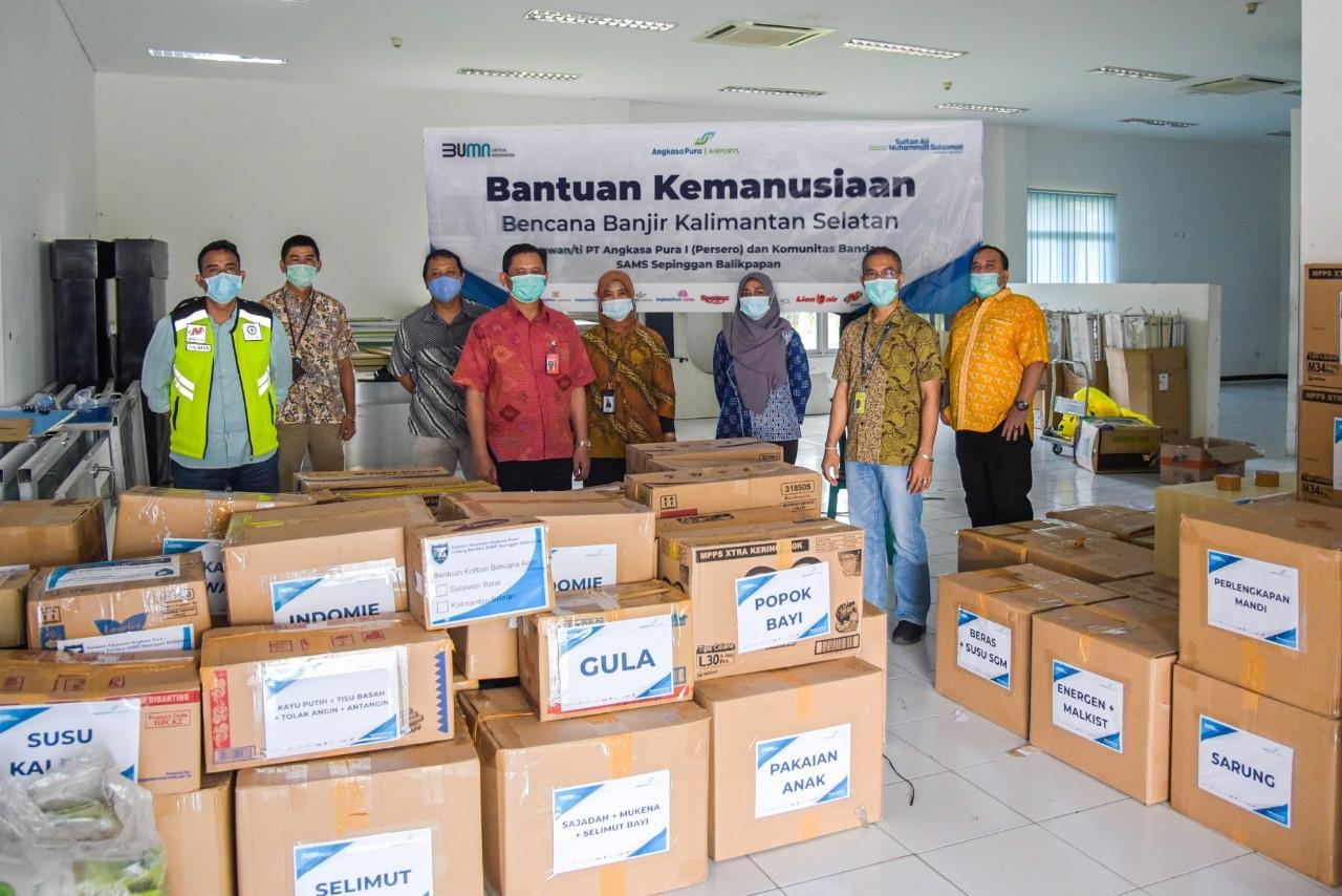 Komunitas Angkasa Pura I Salurkan 1,3 Ton Bantuan Kepada Korban Banjir Kalsel